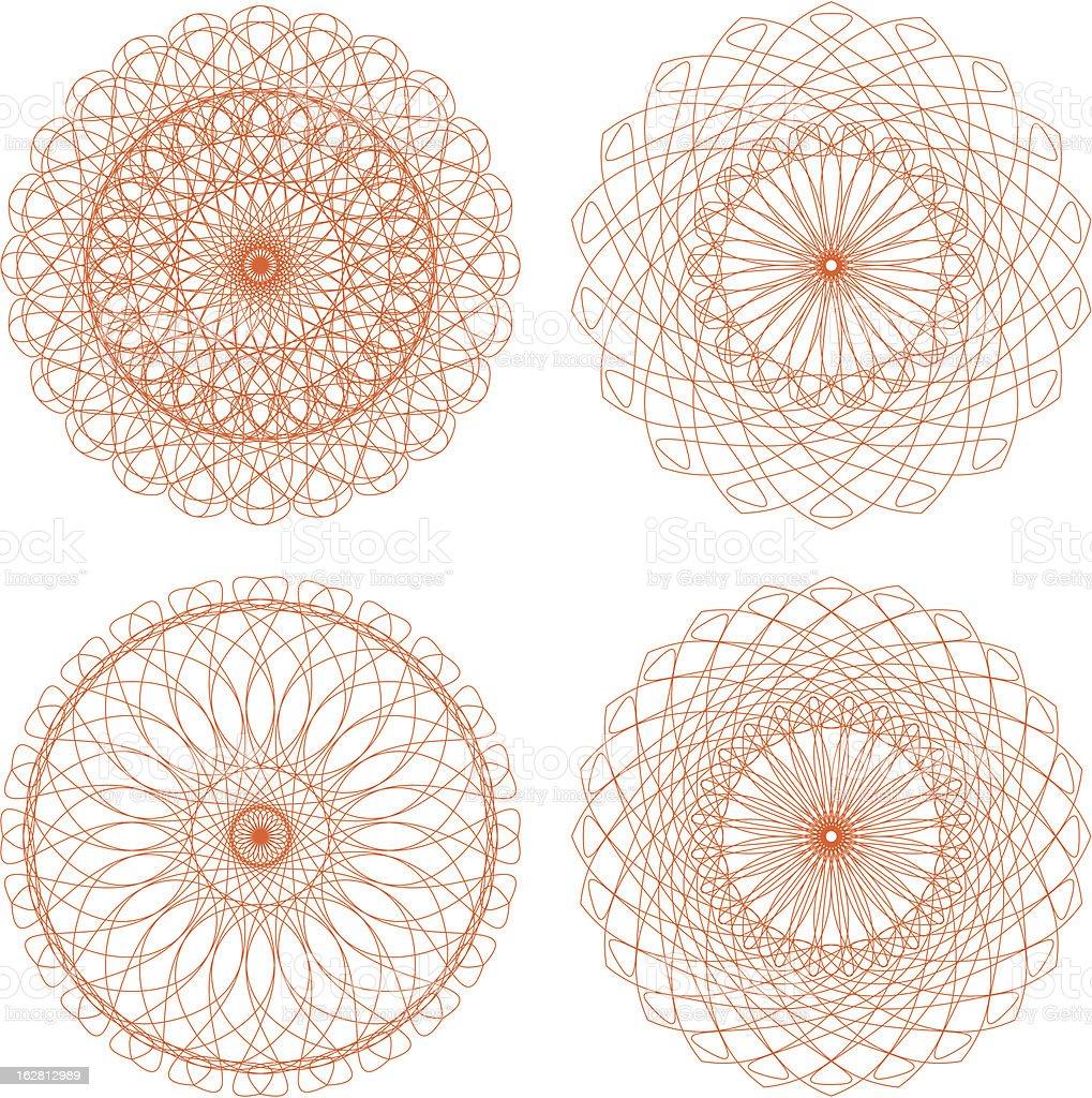 Set of vector guilloche rosettes royalty-free stock vector art