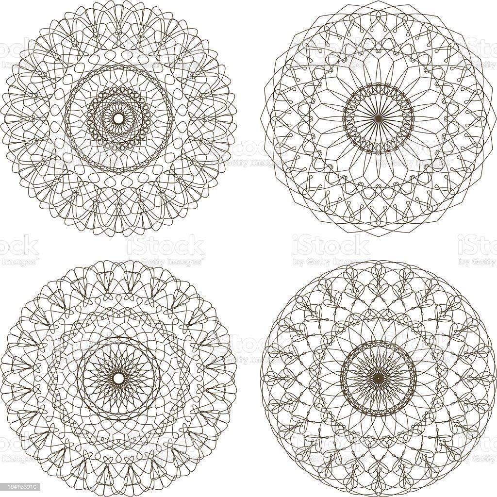 Set of vector guilloche rosettes vector art illustration