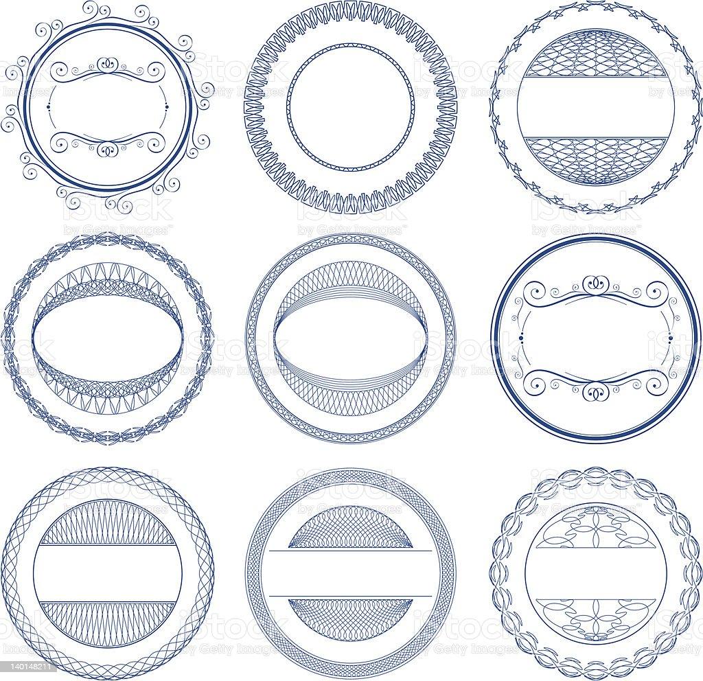 Set of vector guilloche seal vector art illustration