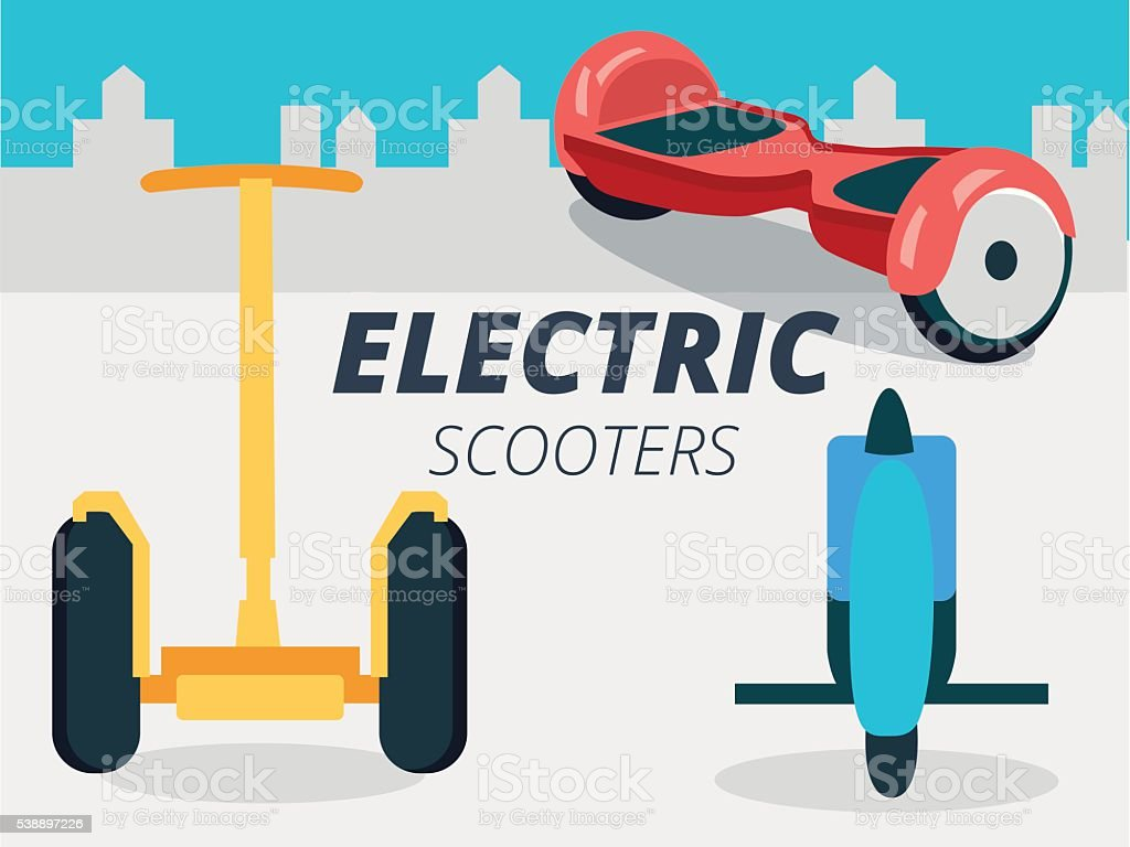 Set of vector gyroscooters on city background design vector art illustration