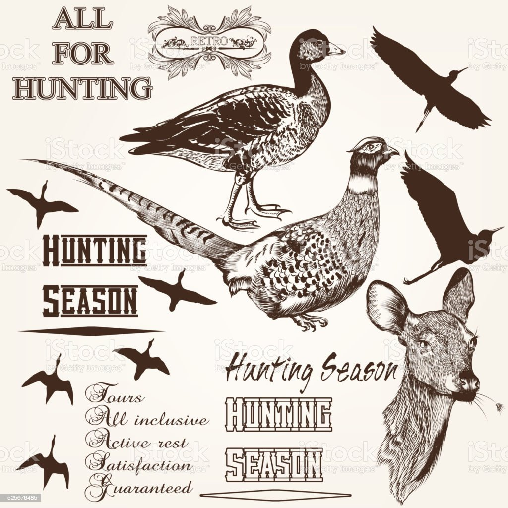 Set of vector hand drawn animals hunting season design vector art illustration