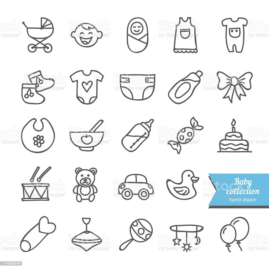 Set of vector hand drawn baby icons: clothes, toys, food vector art illustration