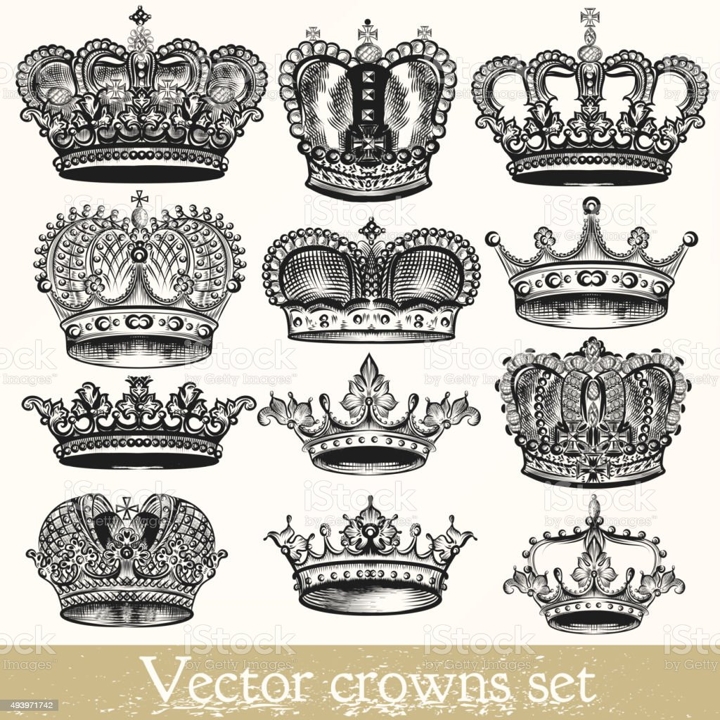 Set of vector hand drawn crowns in vintage style vector art illustration