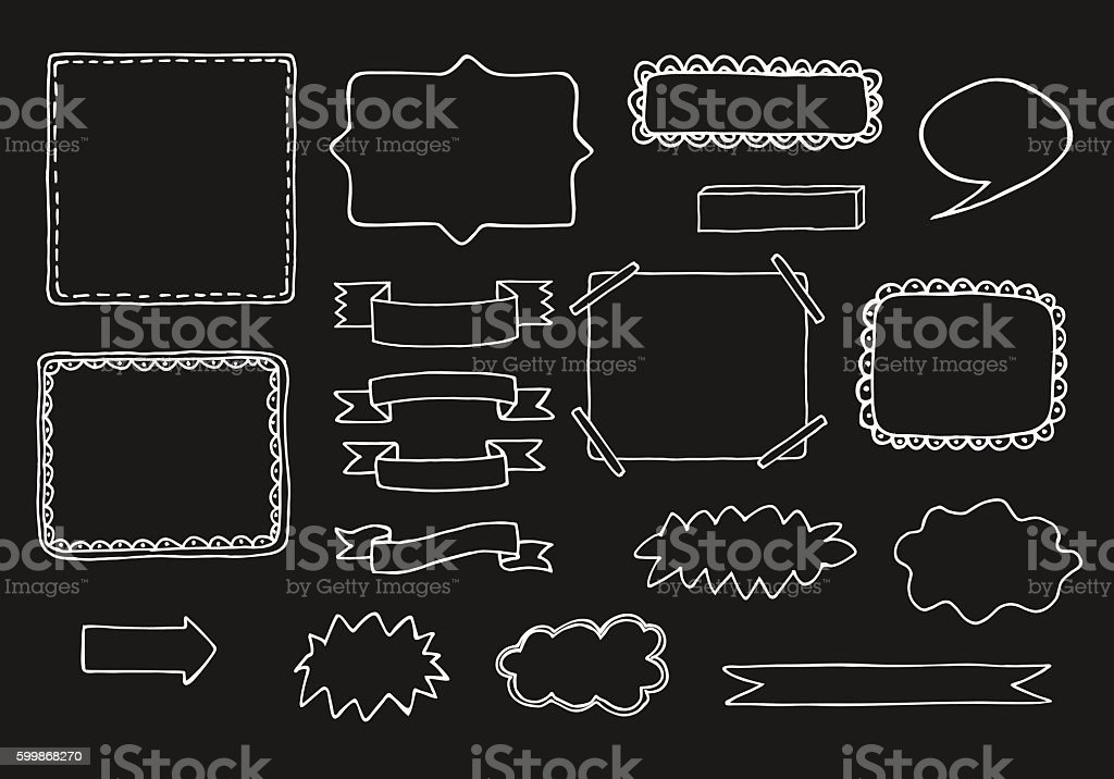 Set of vector hand drawn frames vector art illustration