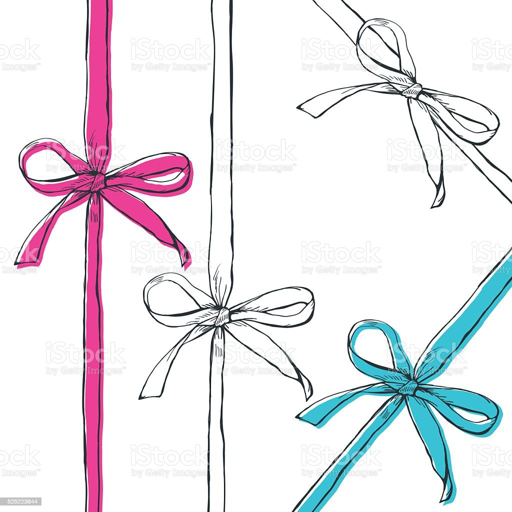 Set of vector hand drawn outline bow ribbons, isolated. vector art illustration