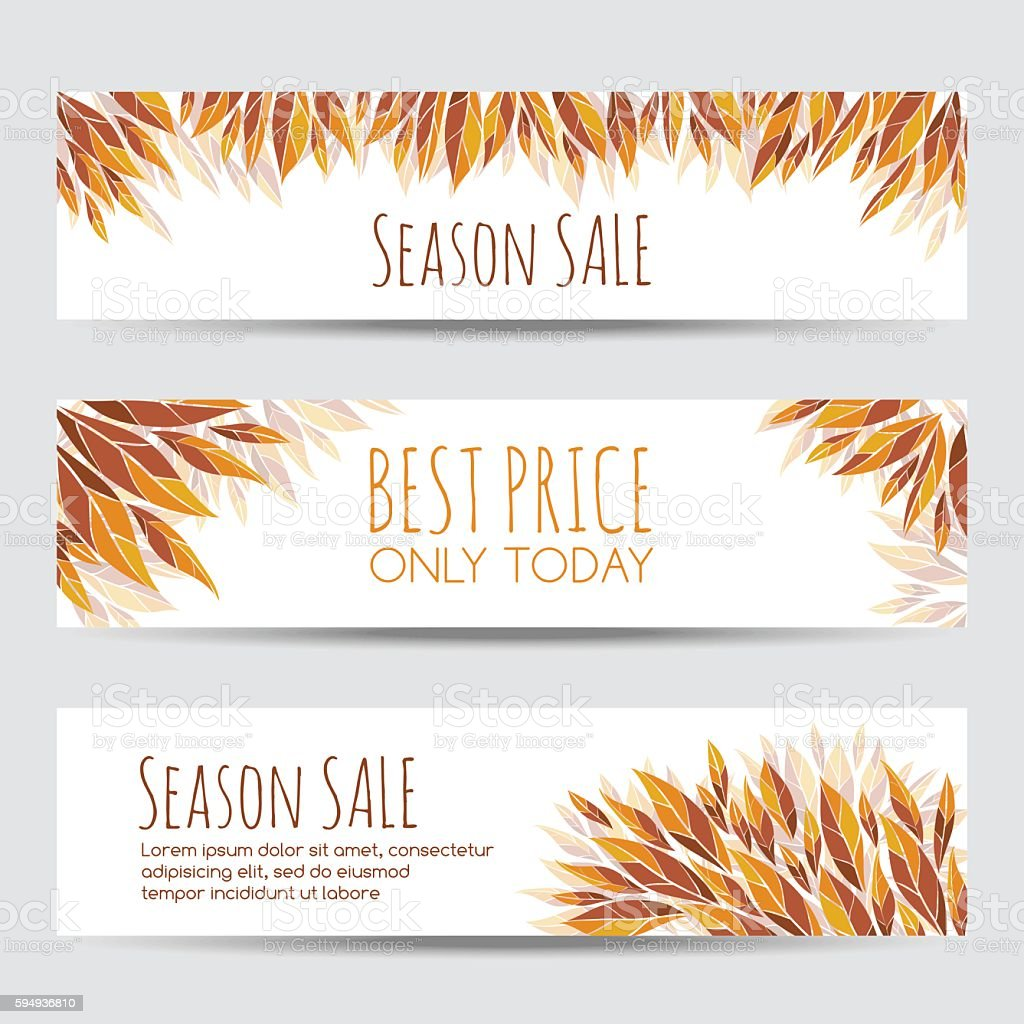 Set of vector headers, banners with autumn leaves vector art illustration