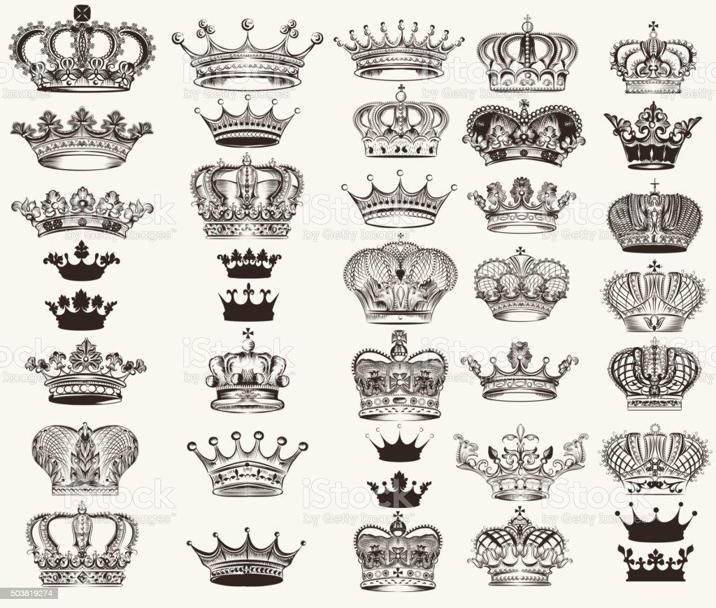Set of vector high detailed crowns for design vector art illustration
