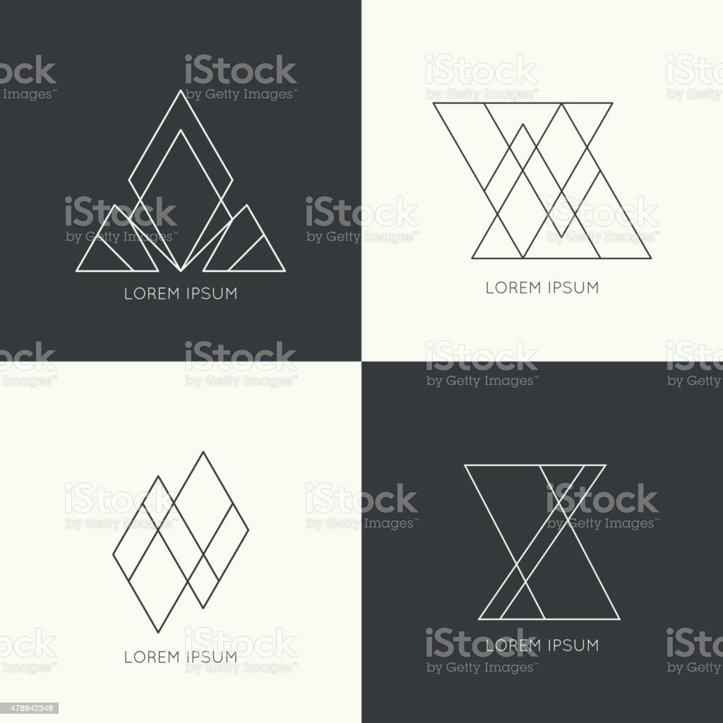 Set of vector hipster  monogram vector art illustration
