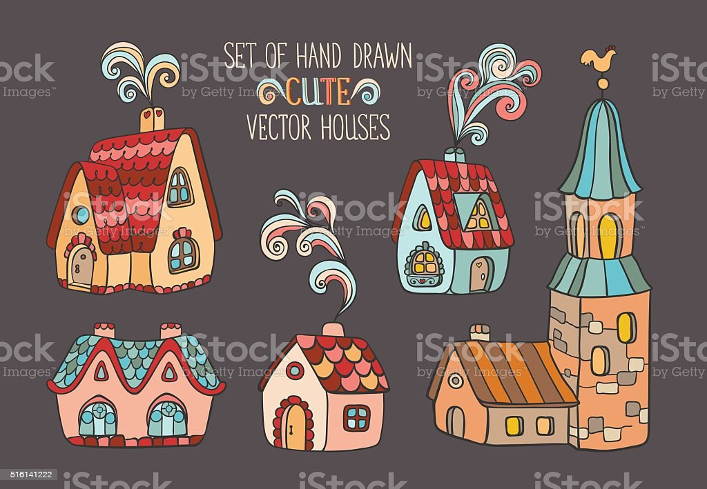 Set of vector houses. vector art illustration
