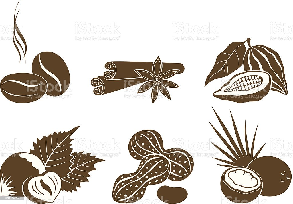 Set of vector icons dessert ingredients vector art illustration