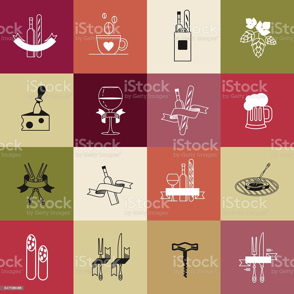 Set of vector icons. Food, dishes, accessories. vector art illustration