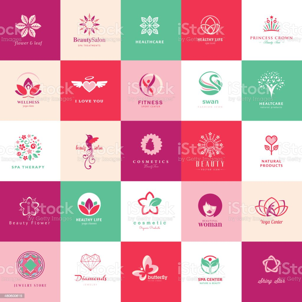 Set of vector icons for beauty vector art illustration
