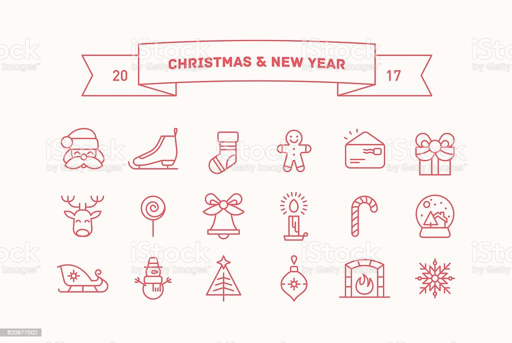 Set of vector icons for Christmas and New Year. vector art illustration