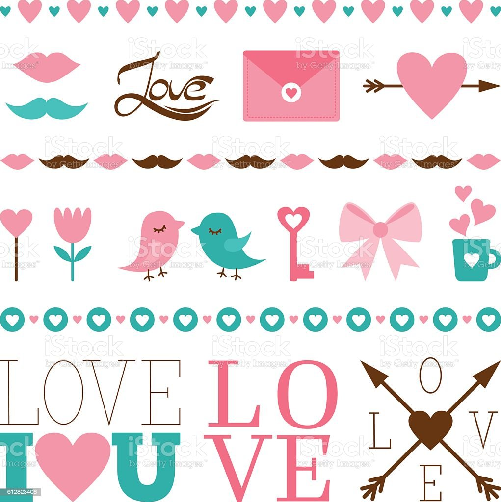 Set of vector icons for romantic messages. vector art illustration
