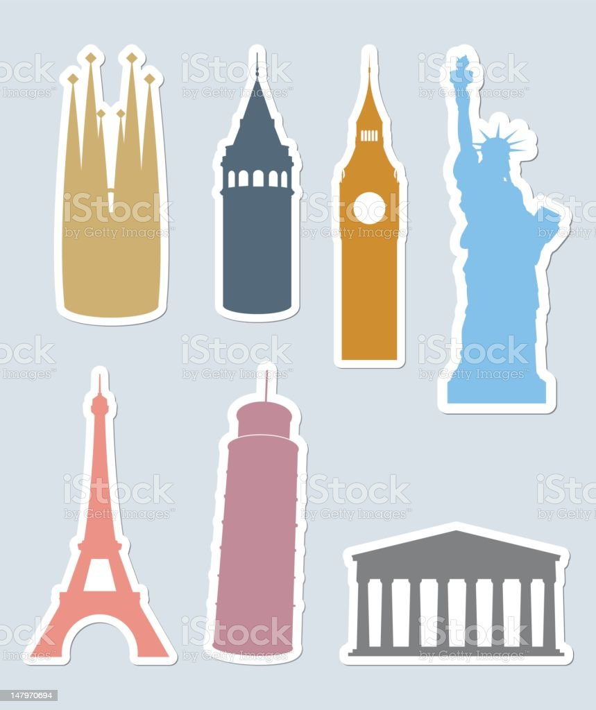 A set of vector icons of European landmarks vector art illustration