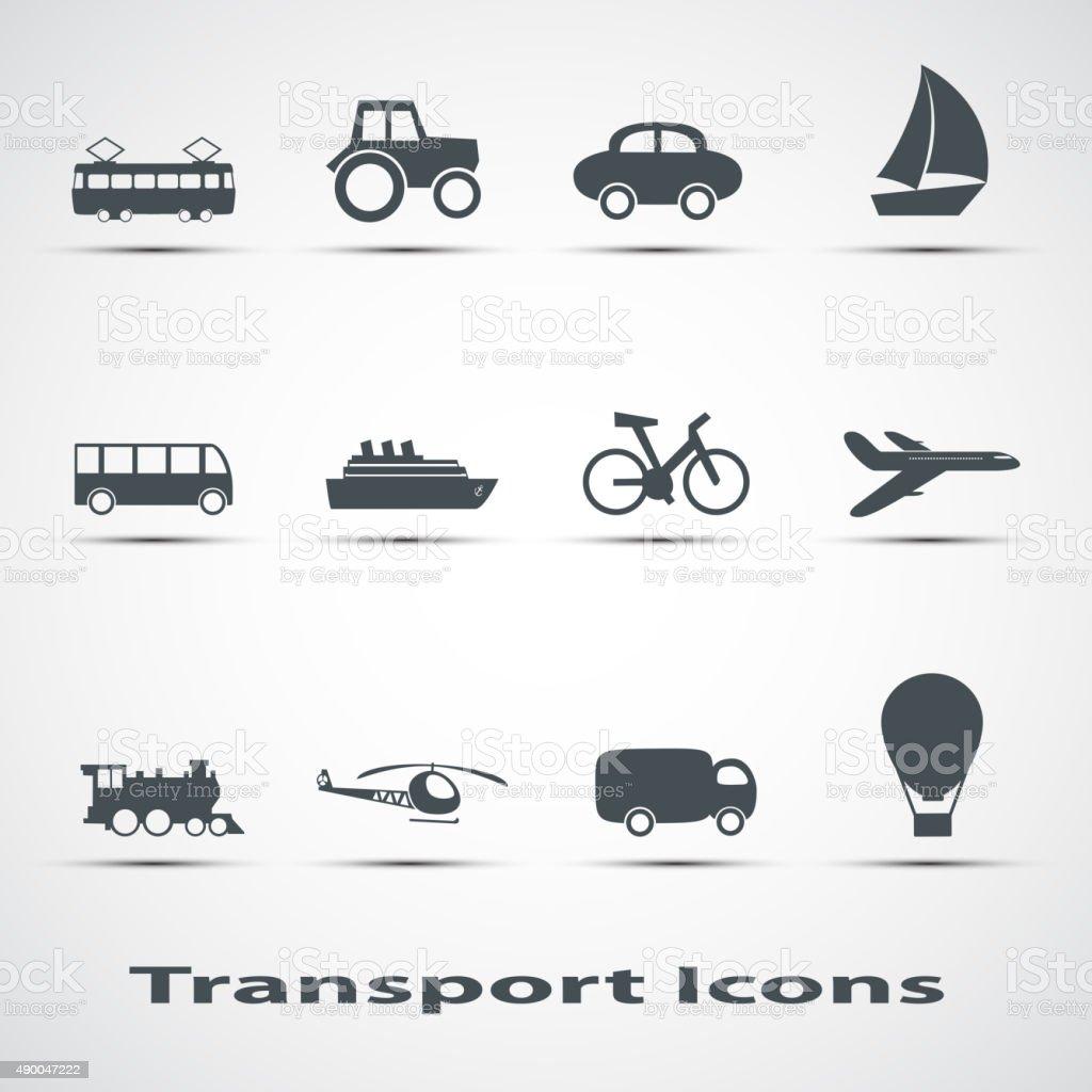 Set of vector icons of transport vector art illustration