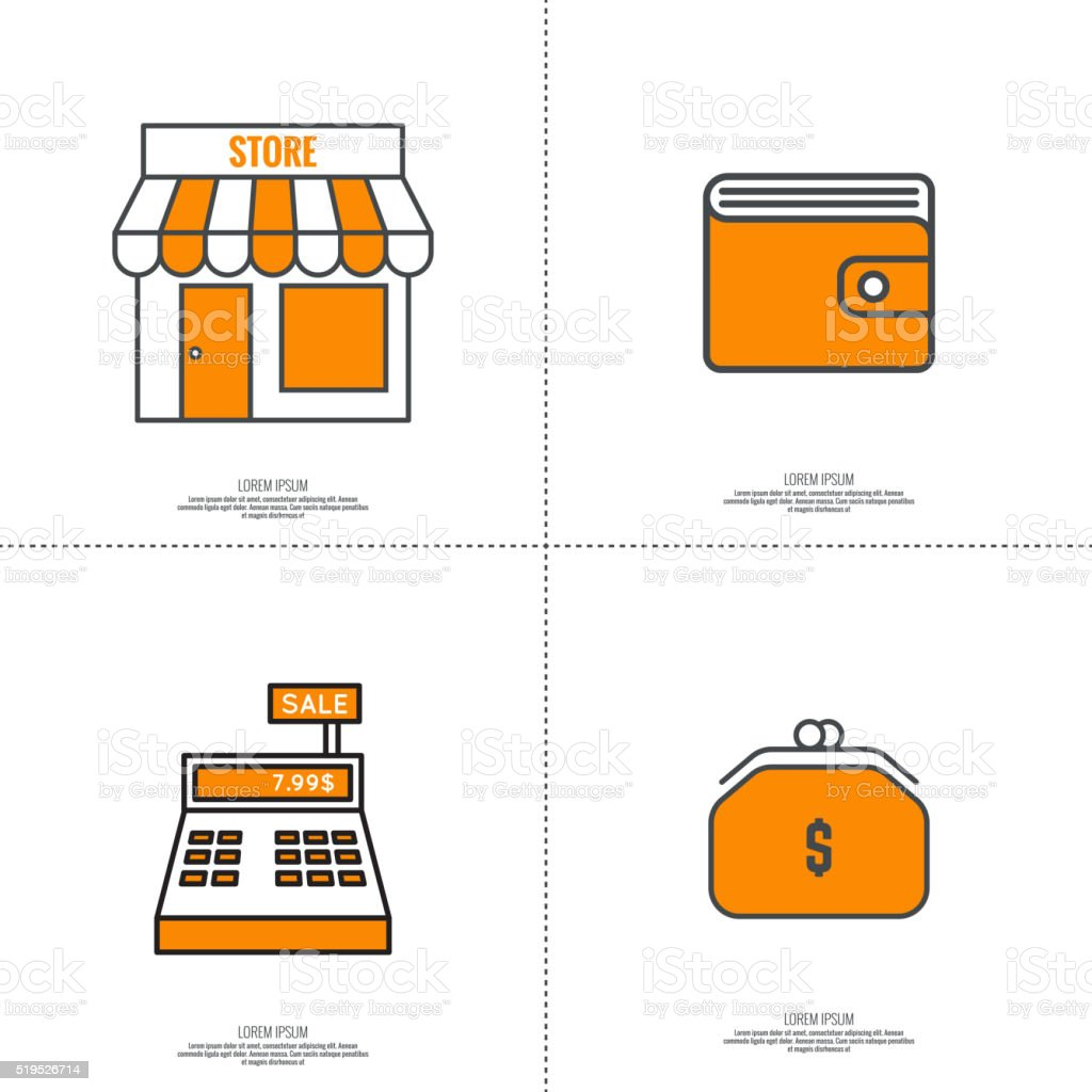 Set of vector icons pictograms vector art illustration