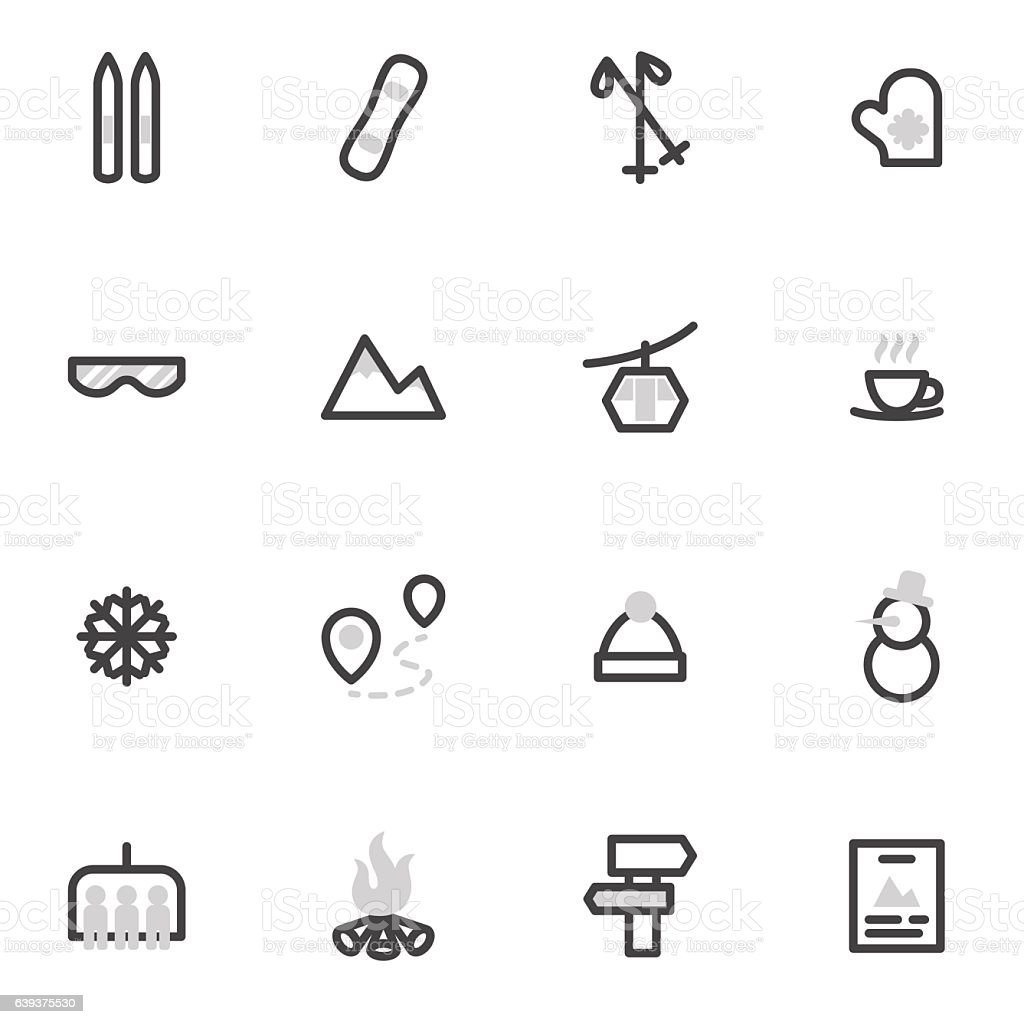 set of vector icons of skiing, snowboarding, winter sports, ski lifts.