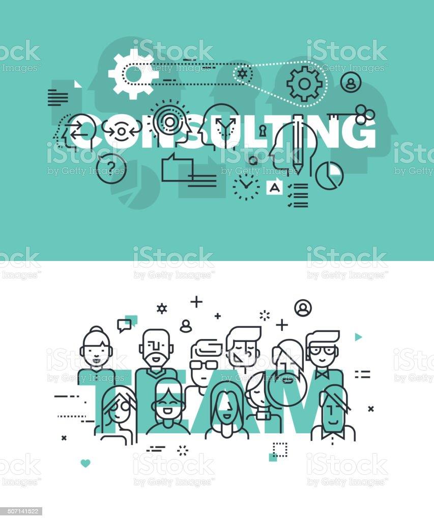 Vector de ilustración conjunto de conceptos de consultoría y equipo de palabras illustracion libre de derechos libre de derechos
