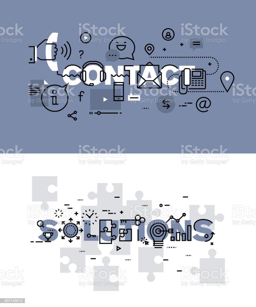 Vector de ilustración conjunto de conceptos de palabras contacto y soluciones illustracion libre de derechos libre de derechos