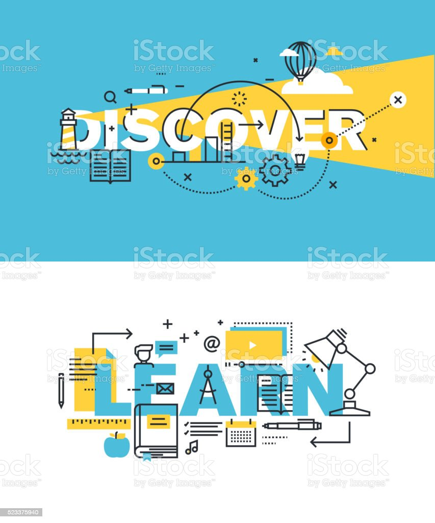 Set of vector illustration concepts of words discover and learn vector art illustration