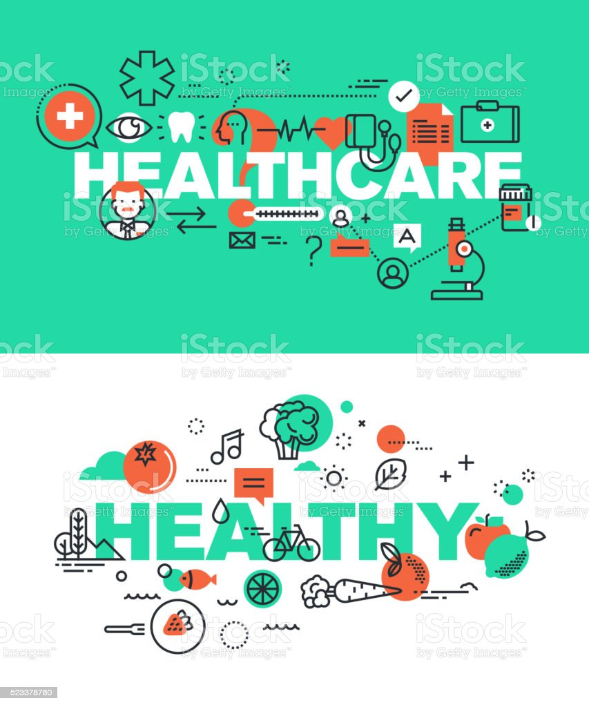 Set of vector illustration concepts of words healthcare and healthy vector art illustration