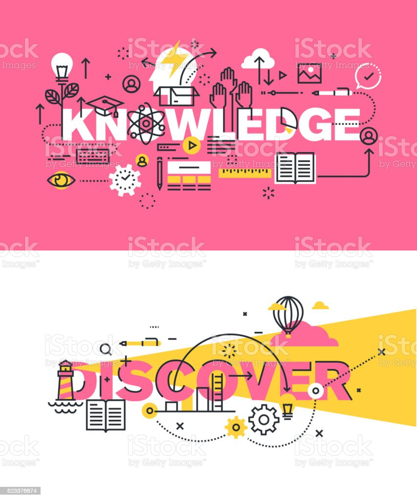 Set of vector illustration concepts of words knowledge and discover vector art illustration