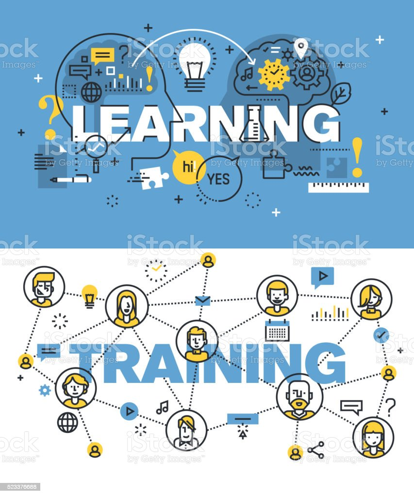Set of vector illustration concepts of words learning and training vector art illustration