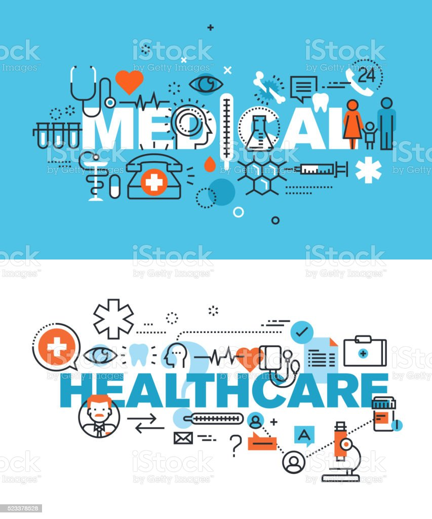 Set of vector illustration concepts of words medical and healthcare vector art illustration