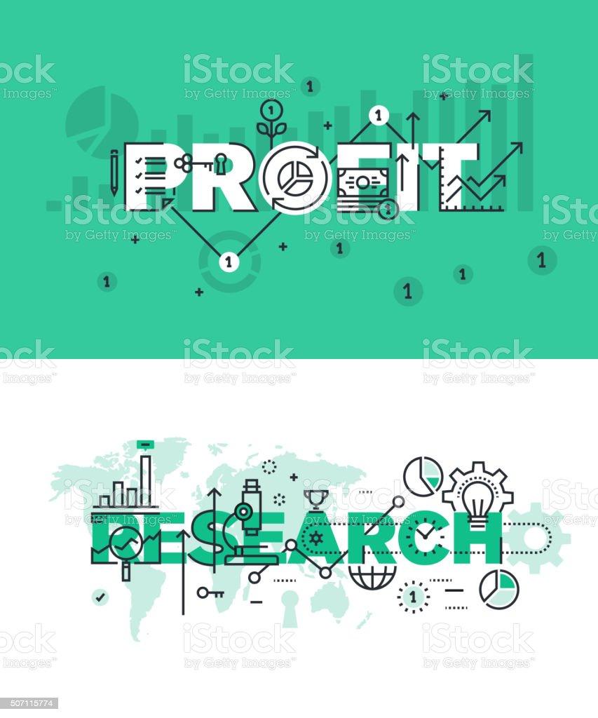 Vector de ilustración conjunto de conceptos de palabras beneficio y de investigación illustracion libre de derechos libre de derechos