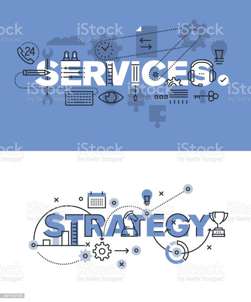 Set of vector illustration concepts of words services and strategy vector art illustration