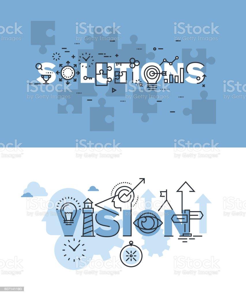 Vector de ilustración conjunto de conceptos de palabras soluciones y la visión illustracion libre de derechos libre de derechos