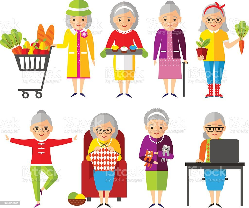 Set of vector Illustration old woman in different situations. vector art illustration