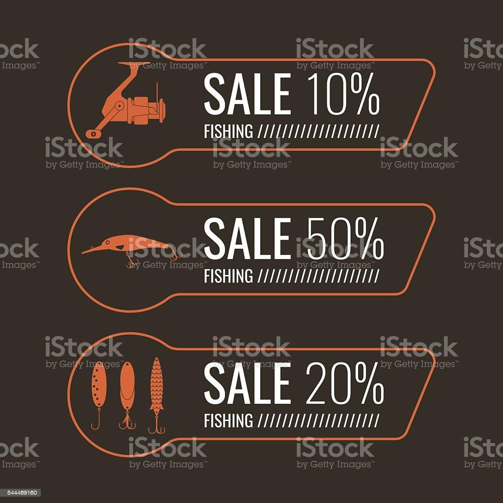 Set of vector illustrations for sale fishing tackle vector art illustration