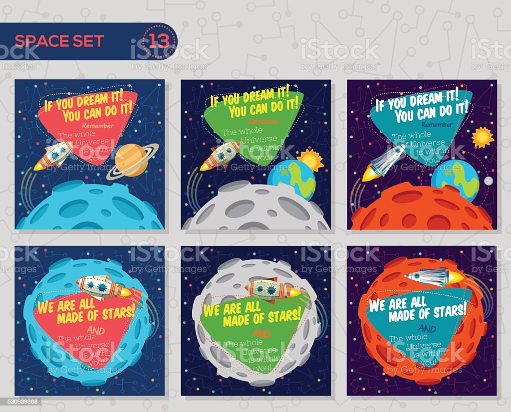 Set of vector illustrations in flat style about outer space. vector art illustration