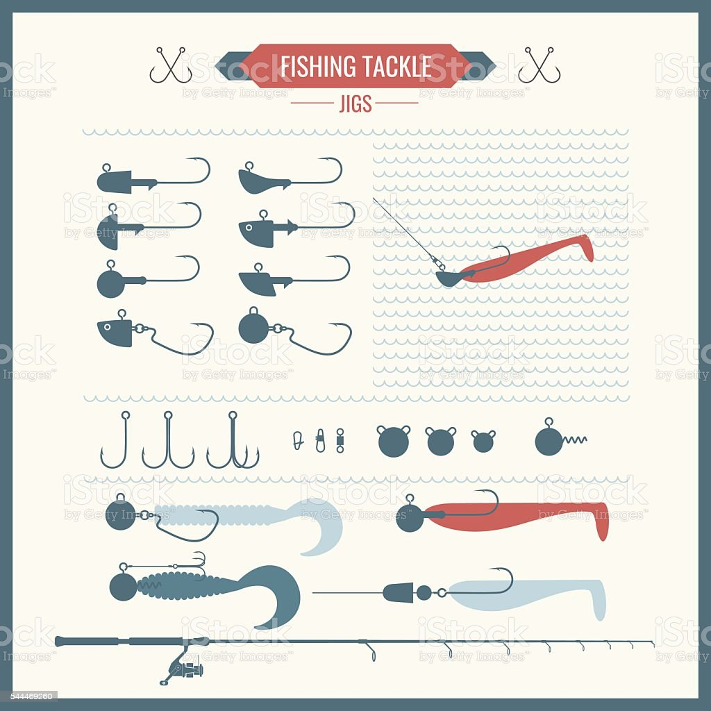 Set of vector illustrations with Fishing vector art illustration