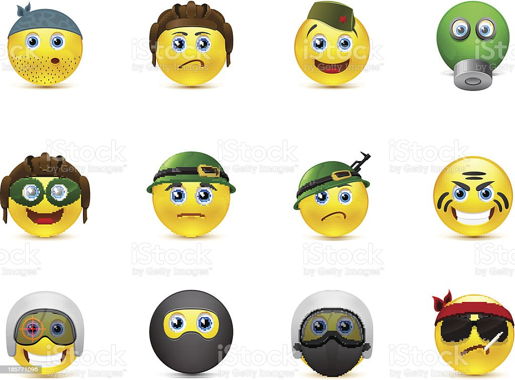 set of vector images smileys with military elements royalty-free stock vector art