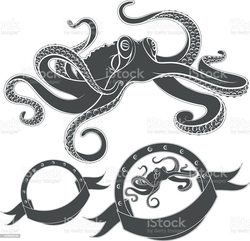 Set of vector images with octopus. vector art illustration
