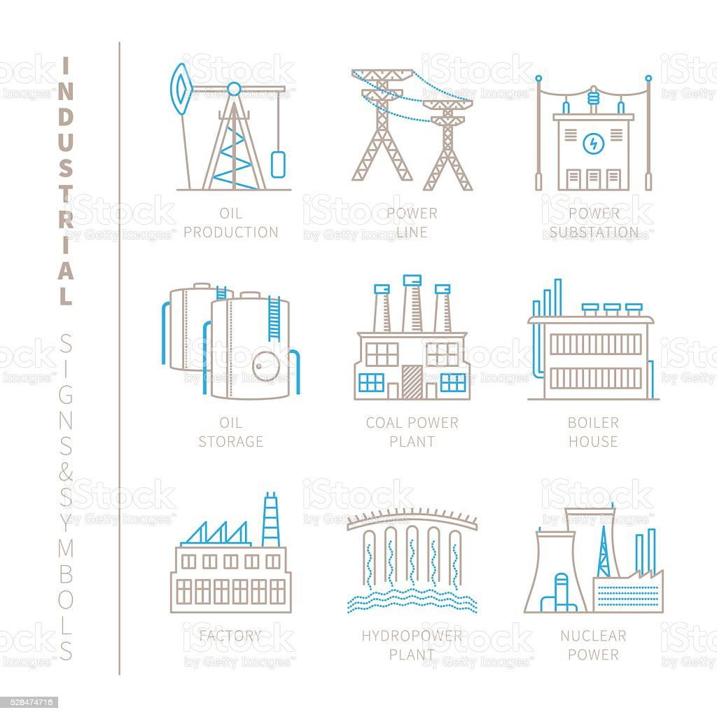 Set of vector industrial icons and concepts vector art illustration