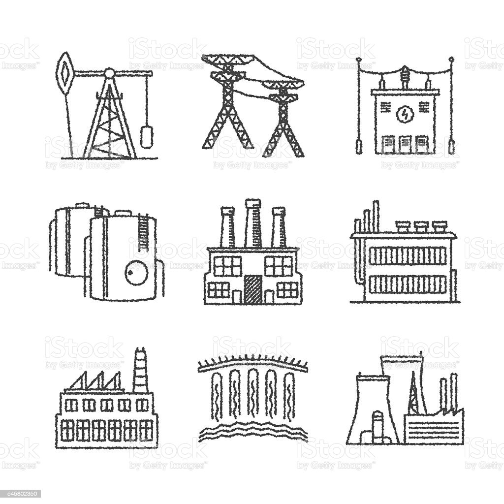 Set of vector industrial icons in sketch style vector art illustration
