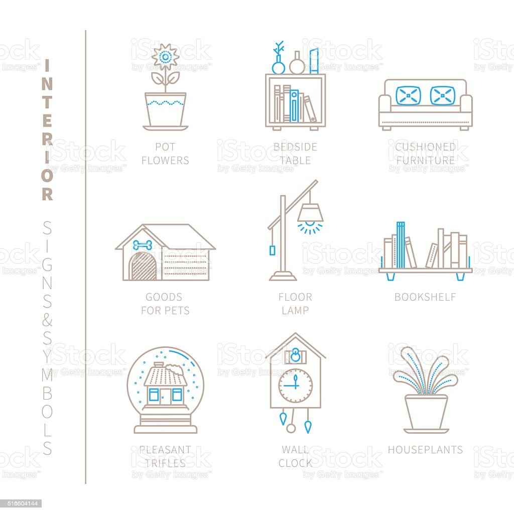 Set of vector interior icons and concepts vector art illustration