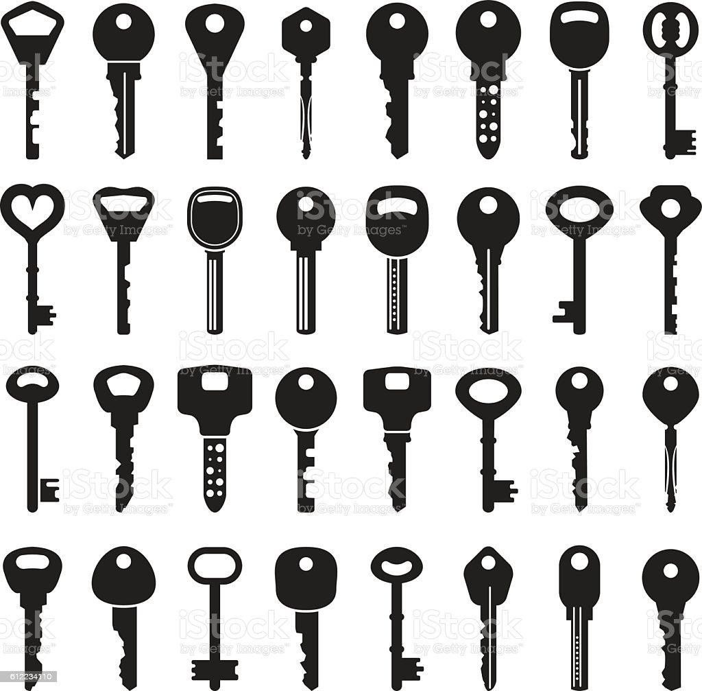 Set of vector keys vector art illustration