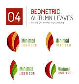 Set of vector leaf minimal design icons