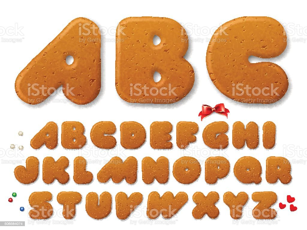 Set of vector letters in shape of a Christmas gingerbread cookies vector art illustration