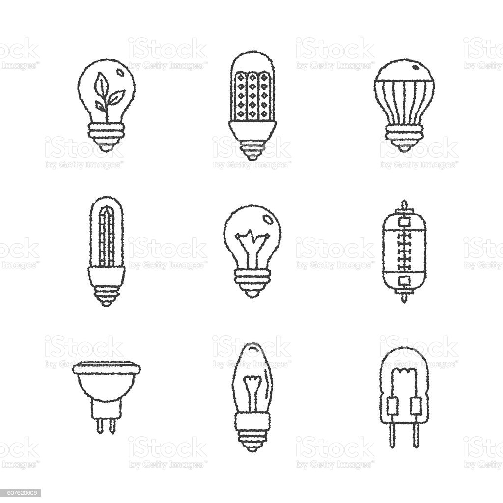 Set of vector light bulb icons and concepts vector art illustration