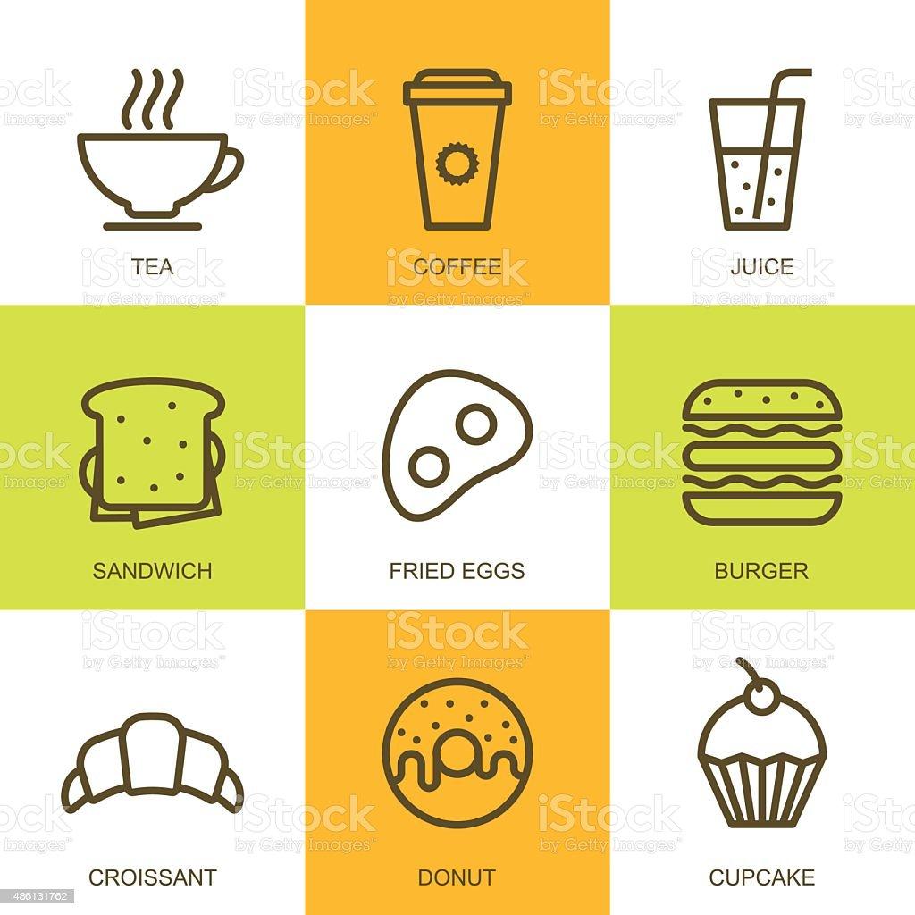 Set of vector linear food illustration. Breakfast menu, bar, cafe. vector art illustration