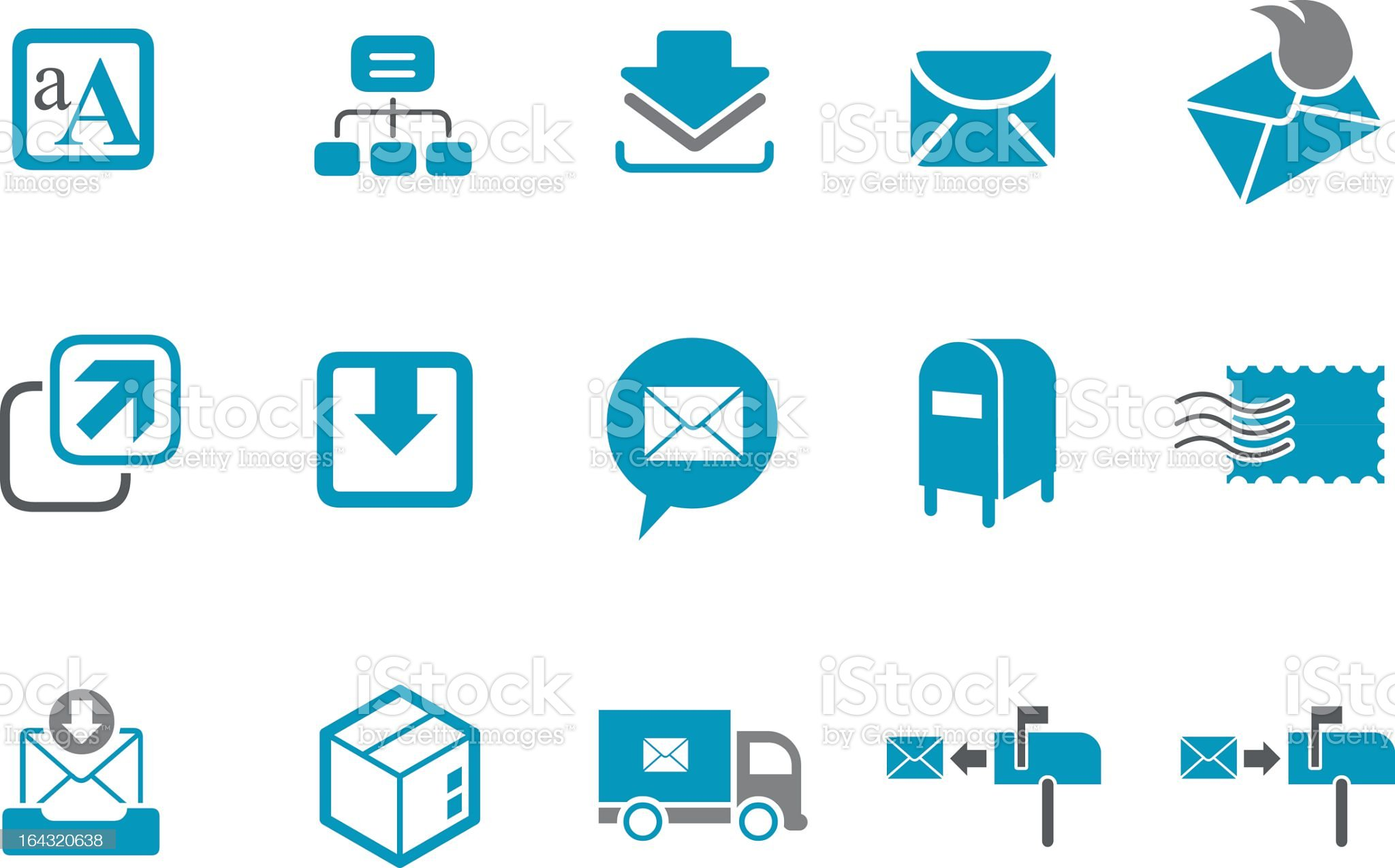 A set of vector mailing icons in blue and white royalty-free stock vector art
