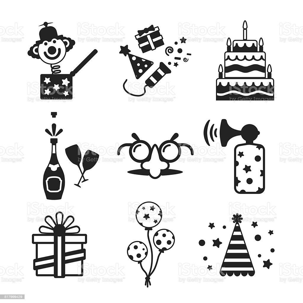 Set of vector monochrome celebration icons in flat style vector art illustration