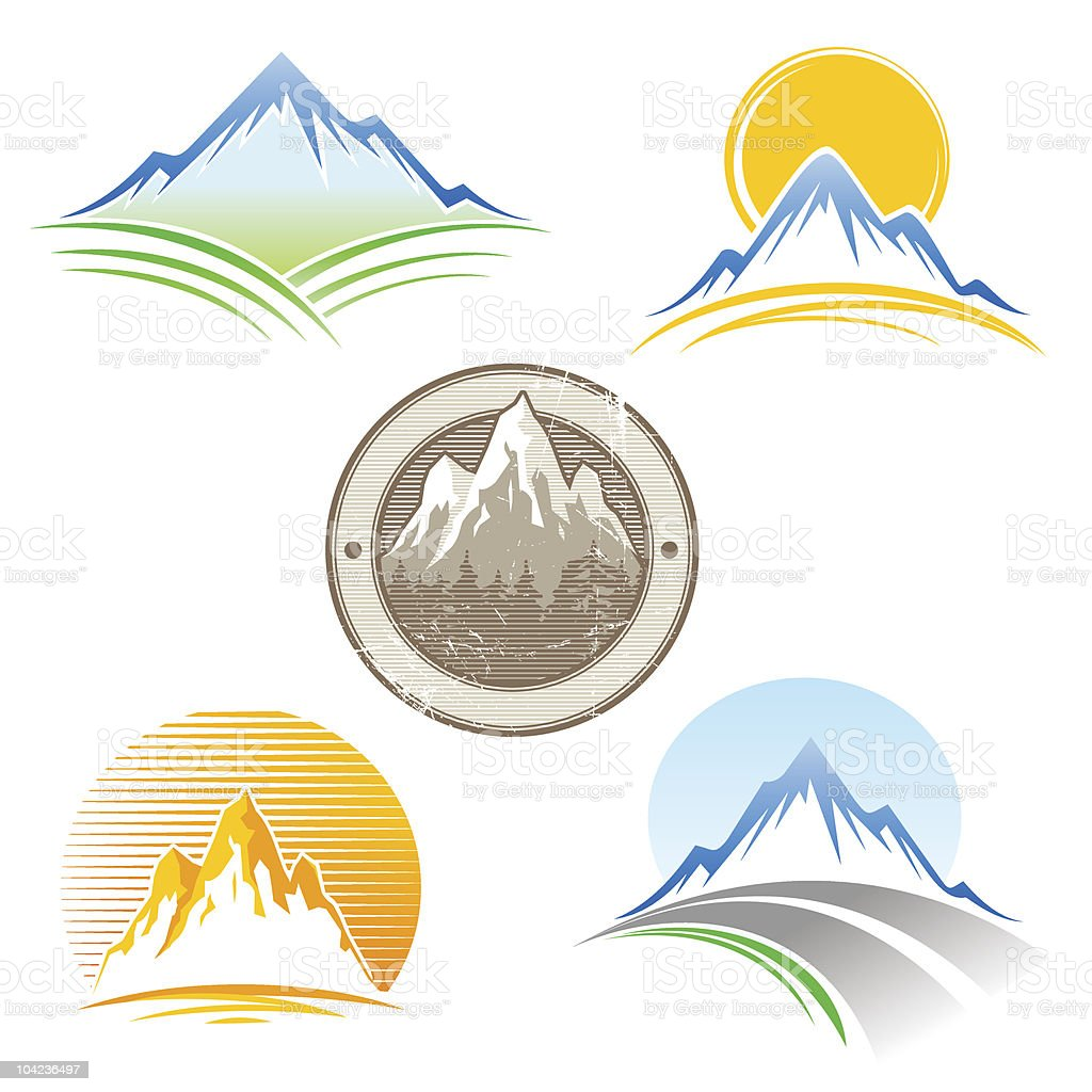 Set of vector mountains emblem royalty-free stock vector art