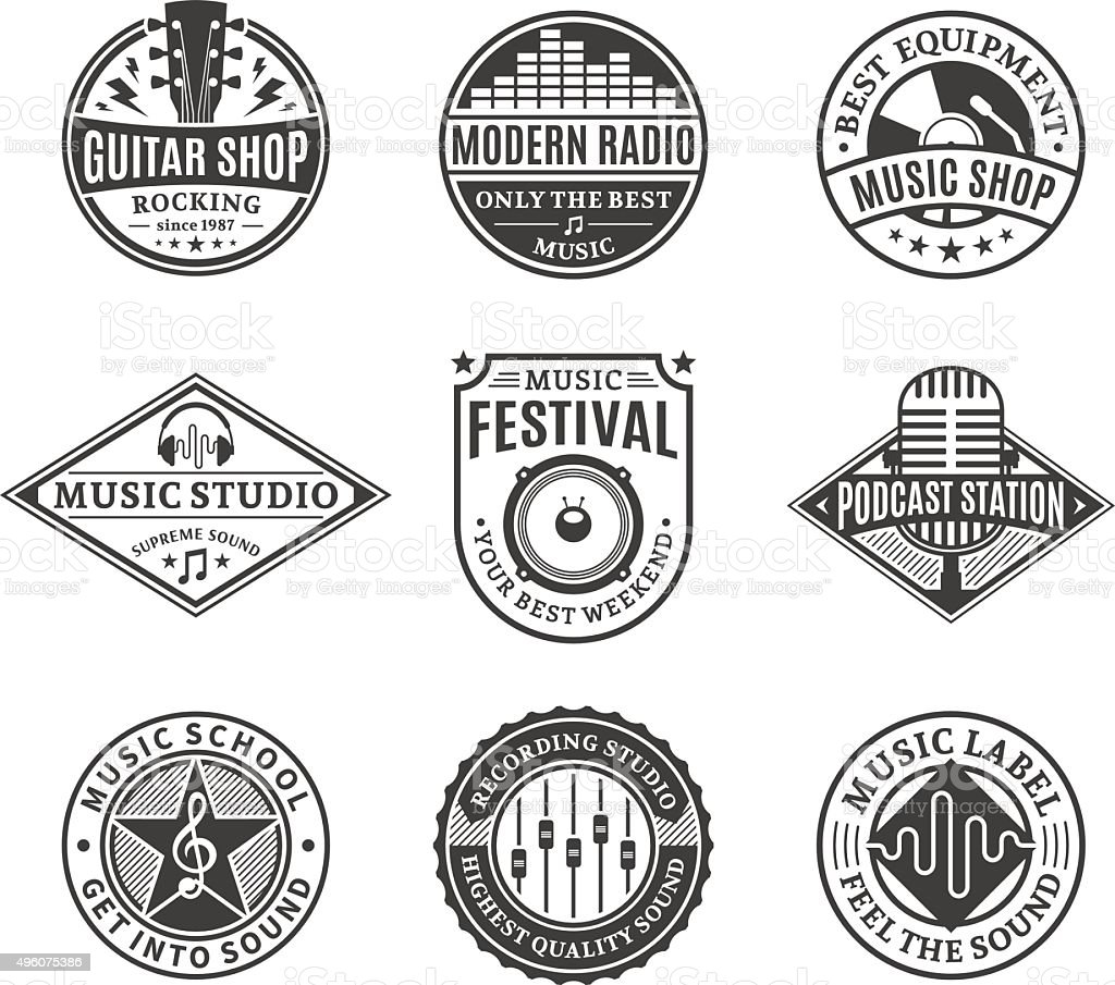 Set of Vector Music Labels, Icons and Design Elements vector art illustration